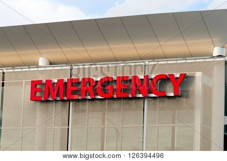 Emergency trauma center big red sign on Hospital