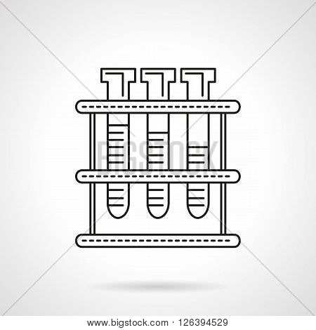 Three test-tubes with fluid on rack. Laboratory tests, research and analysis. Biology, chemistry and medicine. Flat line style vector icon. Single design element for website, business.