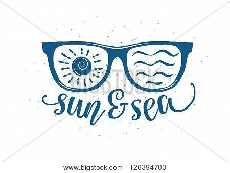 Vintage summer sunglasses in retro style with quote. Vector Illustration.