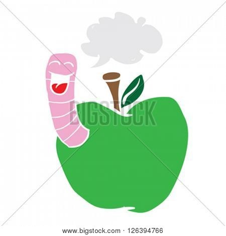 cartoon illustration apple with worm with speech bubble