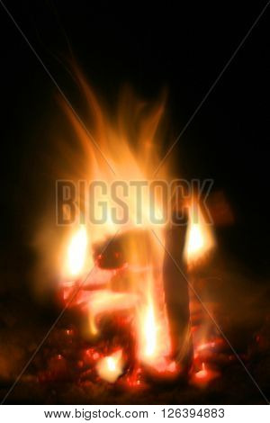 Abstract soft photo of campfire flame