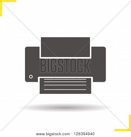 Printer icon. Drop shadow printer icon. Modern office print equipment.  Isolated printer black illustration. Logo concept. Vector silhouette printer symbol