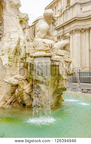 Fontana del Moro in Piazza Navona, Famous square filled with fountains in the heart of Rome, capital of Italy