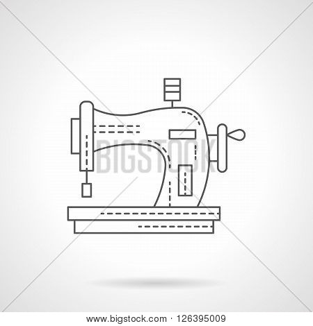 Sewing equipment for hobbies. Manual old style sewing machine. Dressmaking and embroidery. Flat line style vector icon. Single design element for website, business.