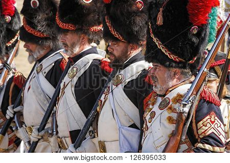 BAILEN SPAIN - october 2008 5: Taken in Bailen Jaen province during the commemoration of the anniversary of the battle of bailen of 1808 soldiers of French troops are placed to attack the enemy Spanish troops in this recreation of the battle of Bailen Jae