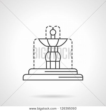 Fountains decoration for interior and exterior. Decorative and functional architecture and sculptures. Flat line style vector icon. Single design element for website, business.