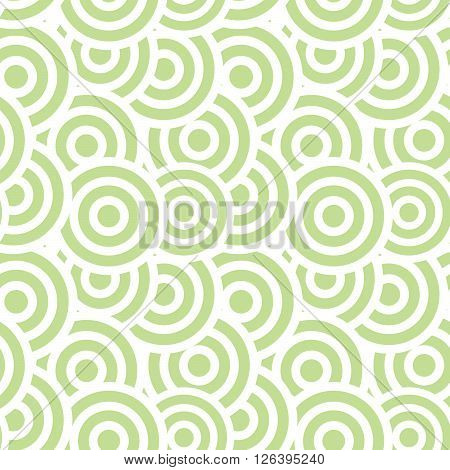 Japanese wave oriental seamless pattern. Asian style pattern with green geometric shapes.