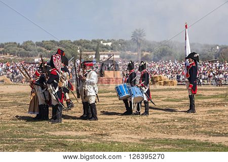 BAILEN SPAIN - october 5 2008: Taken in Bailen Jaen province during the commemoration of the anniversary of the battle of bailén of 1808 soldiers of French troops are placed to attack the enemy Spanish troops in this recreation of the battle of Bailen Jae