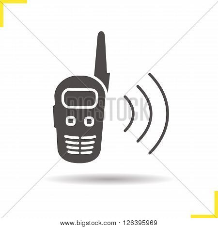 Radio set icon. Drop shadow radio set icon. Portable communication device. Isolated radio set black illustration. Logo concept. Vector silhouette radio set symbol