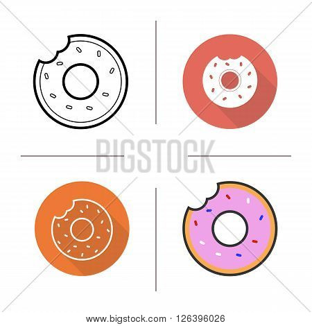 Donuts flat design, linear and color icons set. Bitten donuts with sprinkles and glaze. Confectionery donuts product. Donuts shop logo concept. Isolated doughnut illustration. Vector bitten donut icon