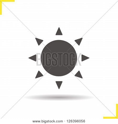 Sun icon. Drop shadow sunshine icon. Summer sun icon. Summer weather forecast. Isolated sun black illustration. Sun rays logo concept. Vector silhouette sunshine symbol