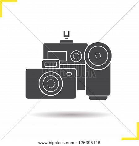 Cameras icon. Drop shadow cameras icon. Slr vintage camera and modern action camera. Optical multimedia equipment. Isolated black cameras illustration. Logo concept. Vector silhouette cameras symbol