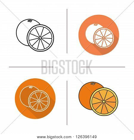 Orange flat design, linear and color icons set. Orange in different styles. Halved orange icons. Tropical citrus fruit. Long shadow logo concept. Isolated vector illustrations. Infographic elements