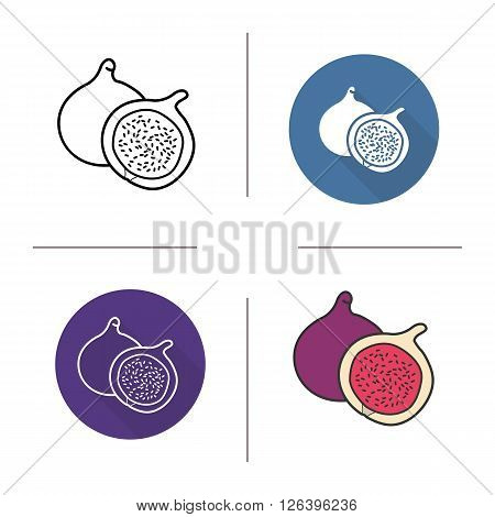 Fig flat design, linear and color icons set. Common fig in different styles. Sliced fig icons. Tropical fruit. Long shadow logo concept. Fig isolated vector illustrations. Infographic elements