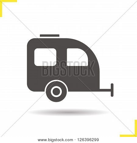 Trailer icon. Drop shadow camping trailer icon. Tourist transport. Isolated trailer black illustration. Logo concept. Vector silhouette camping trailer symbol