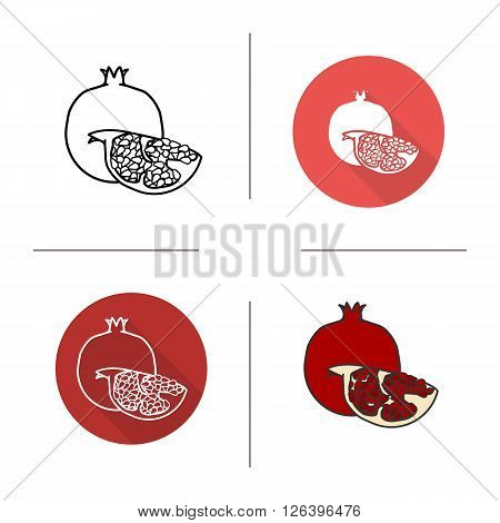 Pomegranate flat design, linear and color icons set. Ripe sliced pomegranate icons. Sweet tropical fruit. Long shadow logo concept. Isolated garnet vector illustrations. Infographic elements