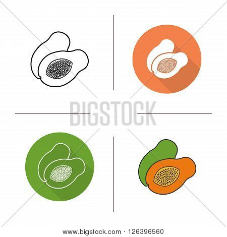 Papaya flat design, linear and color icons set. Pawpaw in different styles. Sliced papaya icons. Tropical fruit. Long shadow logo concept. Papaya isolated vector illustrations. Infographic elements
