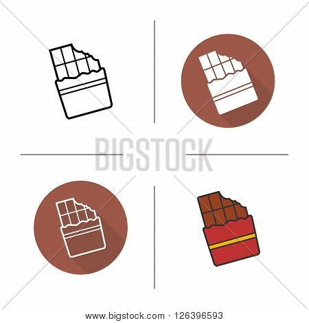 Chocolate bar flat design, linear and color icons set. Wrapped bitten sweet chocolate bar. Confectionery product. Long shadow logo concept. Isolated chocolate vector illustration. Infographic elements