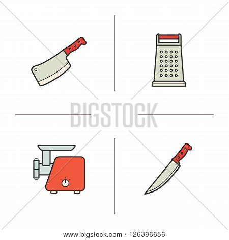Kitchen equipment color icons set. Cleaver and stainless grater icons. Electronic meat grinder and chef knife symbols. Culinary instruments. Logo concepts. Vector isolated illustrations
