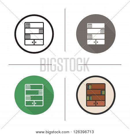 Bookcase flat design, linear and color icons set. Bookshelf in different styles. Library and study furniture. Long shadow logo concept. Bookshelf isolated vector illustrations. Infographic elements