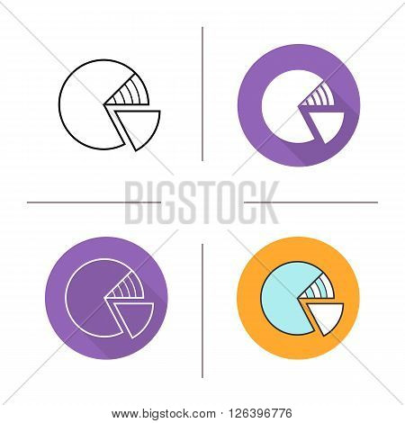 Diagram flat design, linear and color icons set. Round graph isolated. Percentage icons. Business graphic model. Long shadow logo concept. Isolated vector illustrations. Infographic elements