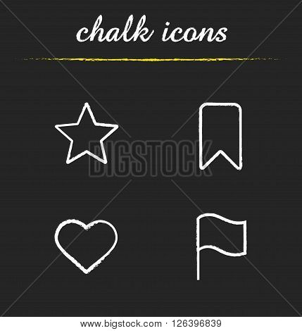 Tags and marks chalk icons set. Star favorite symbol, bookmark button, heart shape, flag pictogram. Navigation sighs and marks icons. White illustrations on blackboard. Vector logo concepts