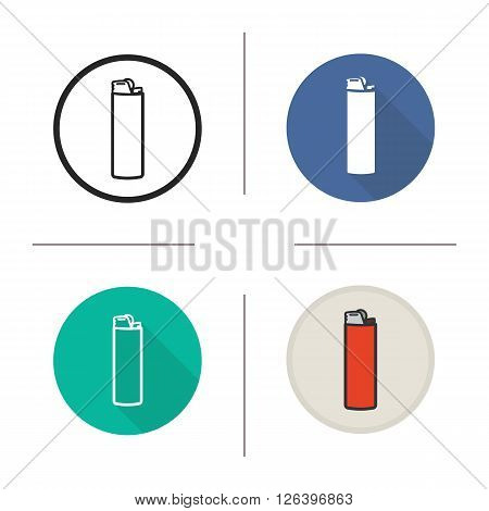 Lighter flat design, linear and color icons set. Disposable gas lighter icon. Pocket lighter symbol. Lighter logo concept. Isolated gas lighter vector illustrations. Infographic elements