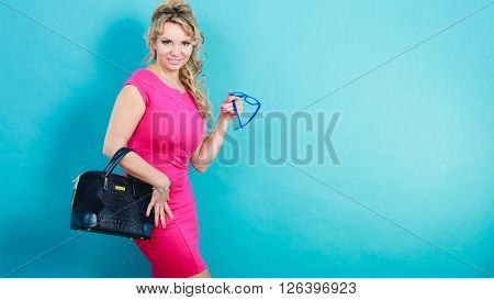 Mature Fashion Woman Holds Handbag