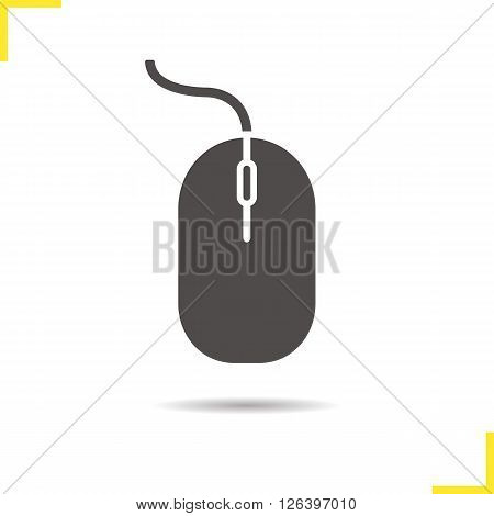 Computer mouse icon. Drop shadow pc mouse icon. Computer equipment. Isolated computer mouse black illustration. Logo concept. Vector silhouette pc mouse symbol