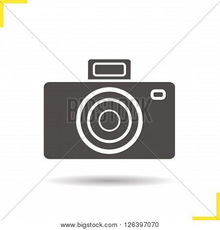 Camera icon. Drop shadow photo camera icon. Photographer equipment. Isolated camera black illustration. Logo concept. Vector silhouette photo camera symbol