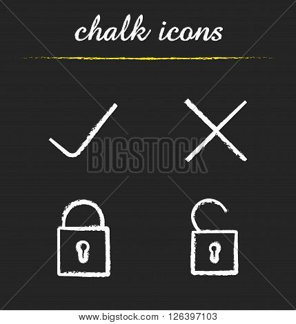 File access chalk icons set. Accept and refuse symbols. Lock, unlock, approve, decline signs. Correct and incorrect symbols icons. White illustrations on blackboard. Vector logo concepts