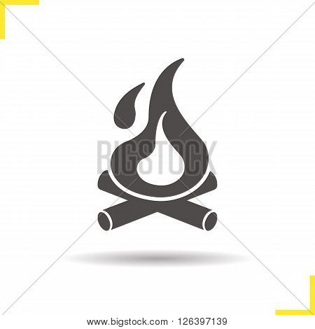 Campfire icon. Drop shadow bonfire icon. Tourist bonfire with firewood. Isolated campfire black illustration. Bonfire logo concept. Vector silhouette campfire symbol