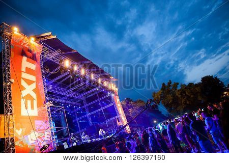 NOVI SAD - JULY 9 : CROWD IN FRONT OF THE DANCE ARENA AT EXIT 2015 MUSIC FESTIVAL JULY 9 2015 IN NOVI SAD PETROVARADIN FORTRESS SERBIA