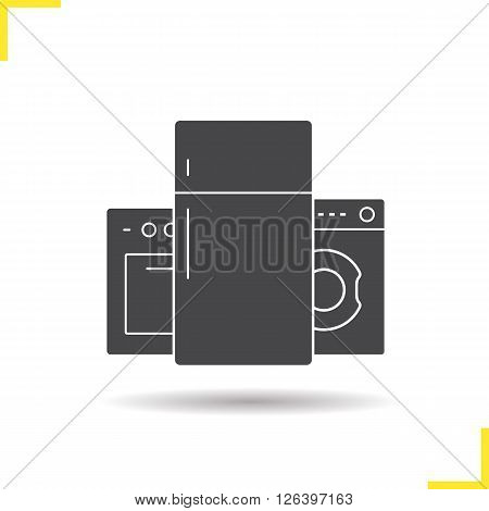 Appliances icon. Drop shadow appliances icon. Electric cooker, refrigeraor and washing machine. Isolated black appliances illustration. Logo concept. Vector silhouette household appliances symbol