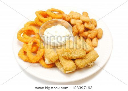 Platter of Deep Fried Snacks Over White