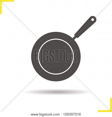 Frying pan icon. Drop shadow pan icon. Kitchen utensil. Restaurant cooking equiment. Isolated frying pan black illustration. Logo concept. Vector silhouette pan symbol