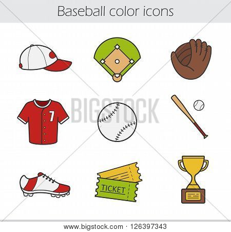 Baseball color icons set. Baseball cap, shirt and shoe. Softball mitt and ball. Baseball bat, award and tickets. Softball equipment and uniform. Logo concepts. Vector isolated illustrations