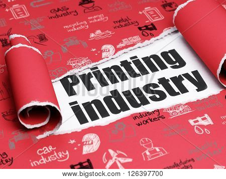 Manufacuring concept: black text Printing Industry under the piece of  torn paper
