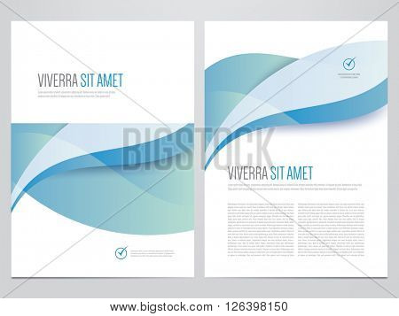 Brochure, annual report, magazine cover, flyer, poster vector template. Modern blue corporate design.