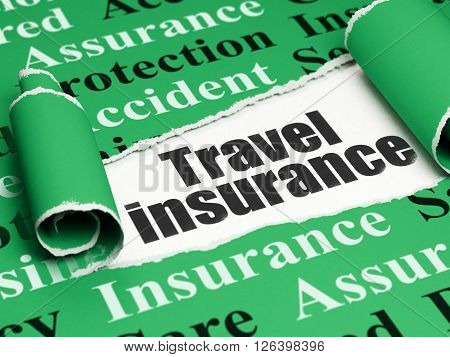 Insurance concept: black text Travel Insurance under the piece of  torn paper