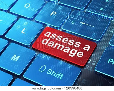 Insurance concept: Assess A Damage on computer keyboard background