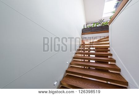 The light that shines through the window of wooden staircase