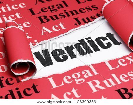 Law concept: black text Verdict under the piece of  torn paper