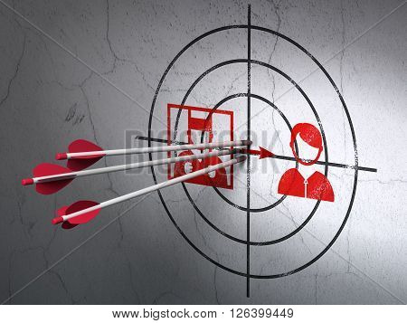 Law concept: arrows in Criminal Freed target on wall background