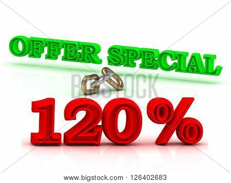 120 PERSENT OFFER SPECIAL business icon green keywords isolated on white background