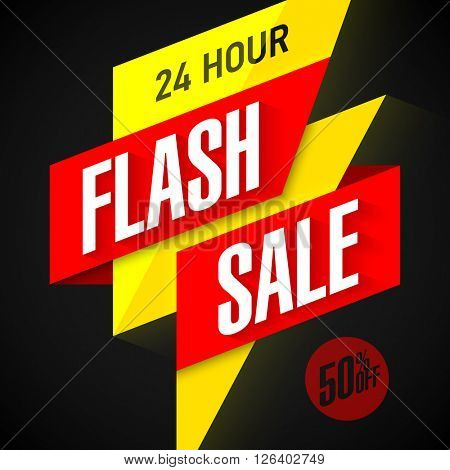 24 hour Flash Sale banner. Vector.