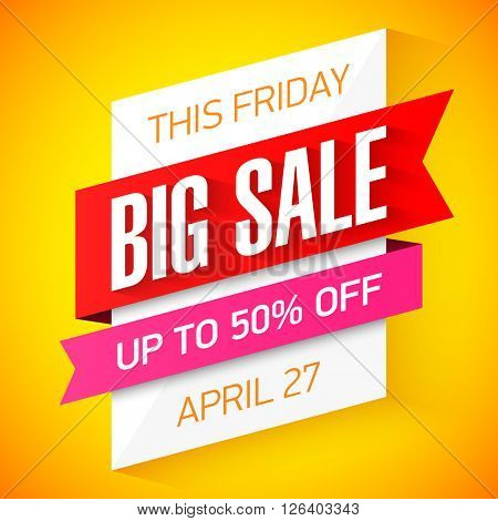This Friday only Big Sale banner vector illustration