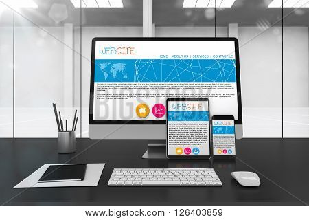 3D rendering of desk with technological devices with responsive website on screen