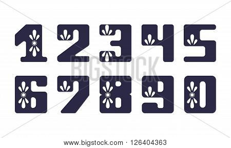 Set fatty numeral with floral ornaments for decoration and design