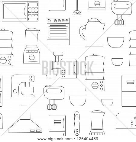Vector line kitchen appliances background. Simple style of kitchen interior design. Apartment kitchen appliances objects. Indoor kitchen design: miser blender steamer toaster and other appliances
